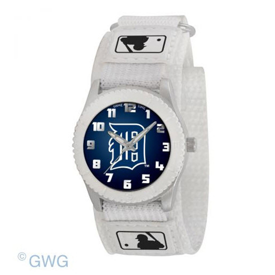 Detroit Tigers Game Time MLB Rookie White Nylon Juniors Cuff Unisex Watch MTO