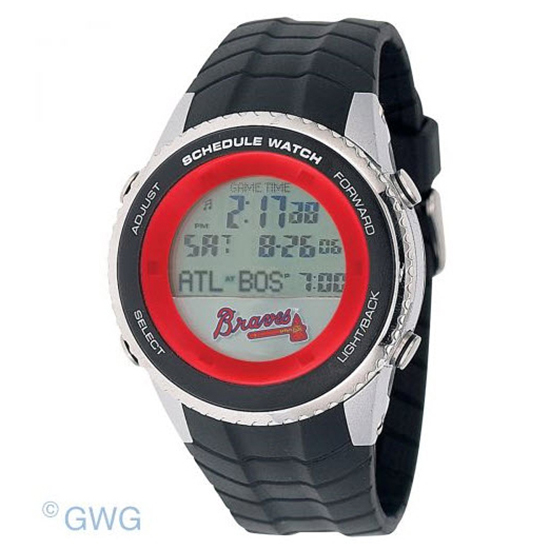Atlanta Braves Game Time MLB Schedule Digital Black Men's Watch MTO