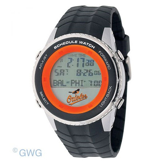 Baltimore Orioles Game Time MLB Schedule Digital Black Men's Watch MTO