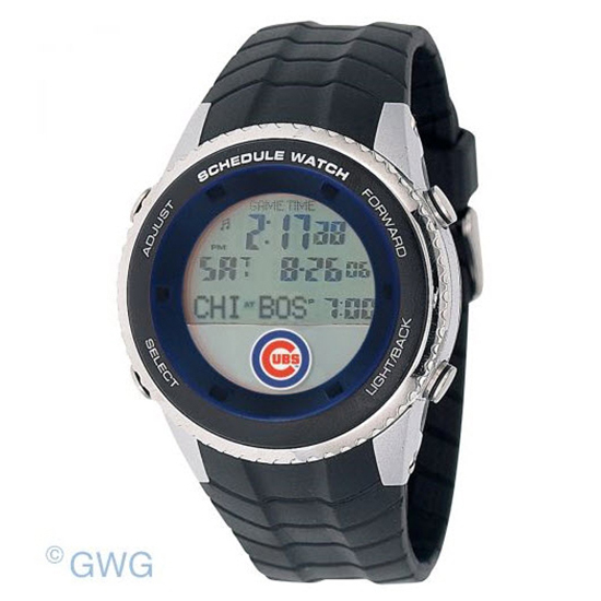 Chicago Cubs Game Time MLB Schedule Digital Black Men's Watch MTO