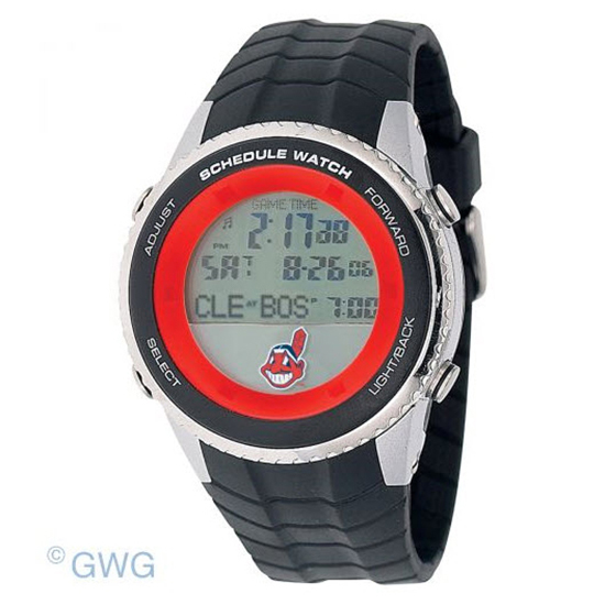 Cleveland Indians Game Time MLB Schedule Digital Black Men's Watch MTO