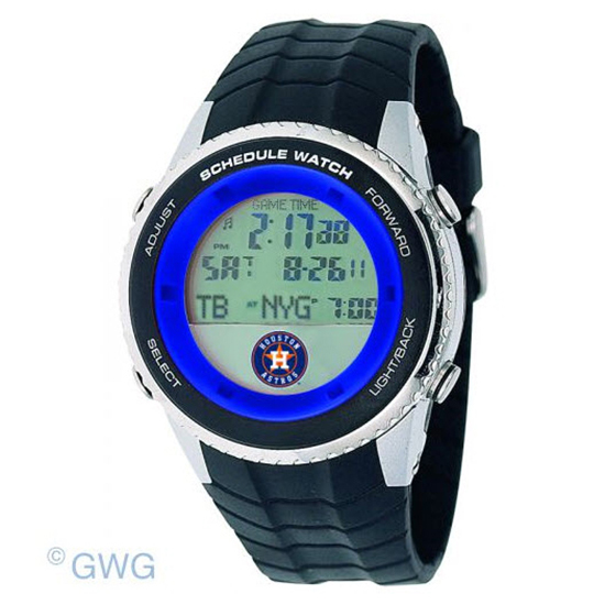 Houston Astros Game Time MLB Schedule Digital Black Men's Watch MTO