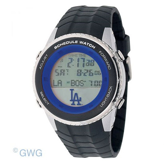 Los Angeles Dodgers Game Time MLB Schedule Digital Black Men's Watch MTO