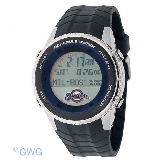 Milwaukee Brewers Game Time MLB Schedule Digital Black Men's Watch MTO