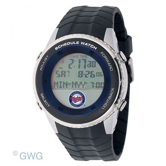 Minnesota Twins Game Time MLB Schedule Digital Black Men's Watch MTO