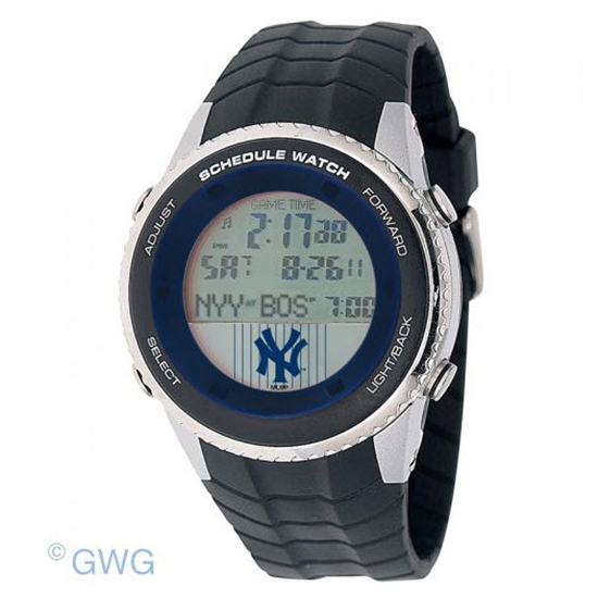 New York Yankees Pinstripe Game Time MLB Schedule Digital Black Men's Watch MTO