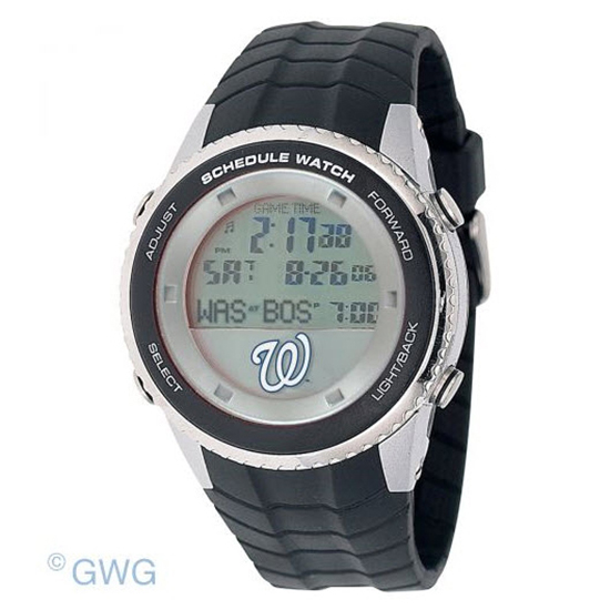 Washington Nationals Game Time MLB Schedule Digital Black Men's Watch MTO