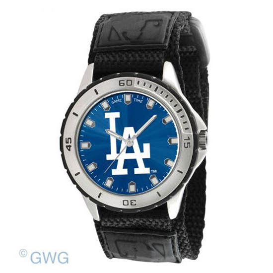Los Angeles Dodgers Game Time MLB Veteran Black Nylon Men's Watch MTO