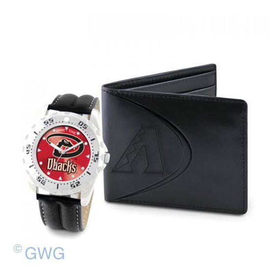 Arizona Diamondbacks Game Time Black Leather Watch Bifold Wallet Set MTO