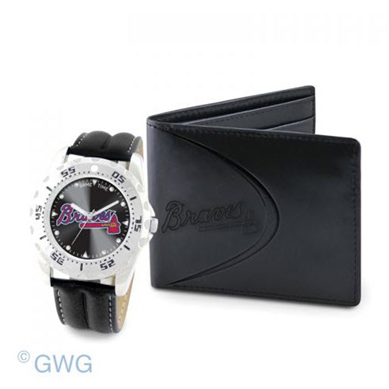 Atlanta Braves Game Time Black Leather Watch Bifold Wallet Set