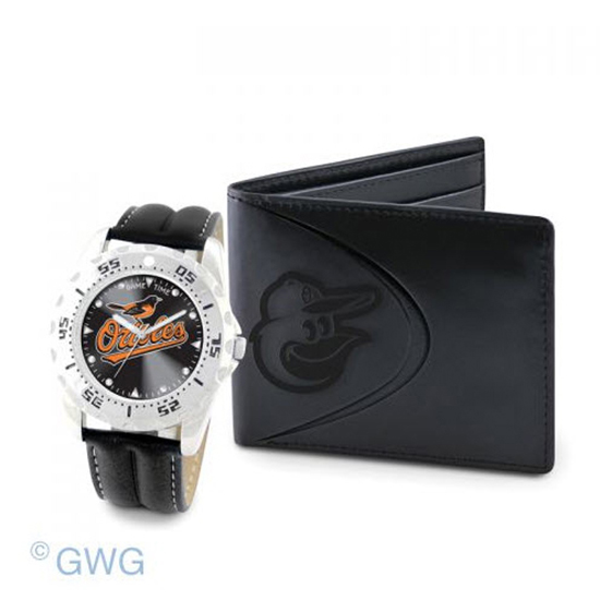 Baltimore Orioles Game Time Black Leather Watch Bifold Wallet Set MTO