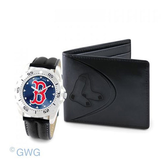 Boston Red Sox Game Time Black Leather Watch Bifold Wallet Set MTO