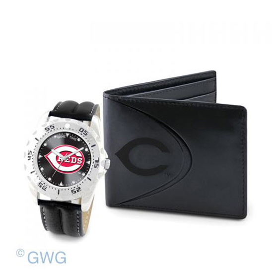 Cincinnati Reds Game Time Black Leather Watch Bifold Wallet Set MTO