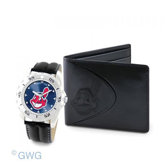 Cleveland Indians Game Time Black Leather Watch Bifold Wallet Set MTO