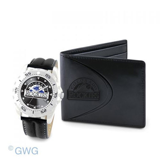 Colorado Rockies Game Time Black Leather Watch Bifold Wallet Set MTO