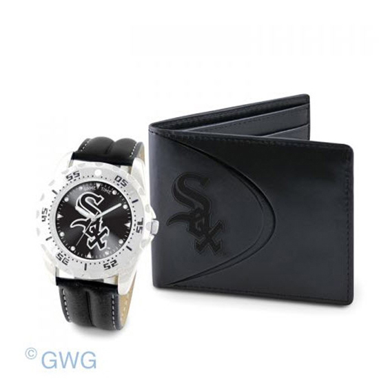 Chicago White Sox Game Time Black Leather Watch Bifold Wallet Set MTO