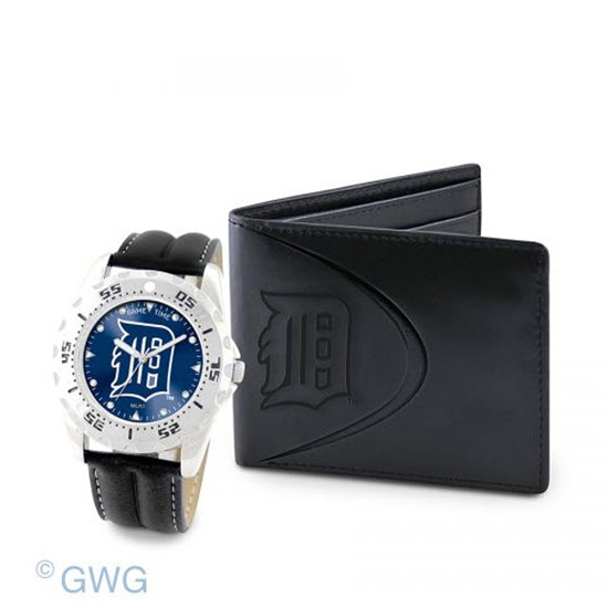 Detroit Tigers Game Time Black Leather Watch Bifold Wallet Set MTO