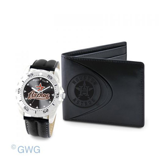 Houston Astros Game Time Black Leather Watch Bifold Wallet Set MTO