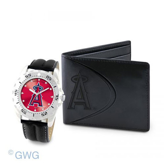 Los Angeles Angels Game Time Black Leather Watch Bifold Wallet Set MTO