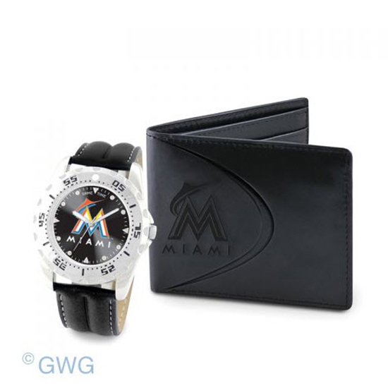 Miami Marlins Game Time Black Leather Watch Bifold Wallet Set MTO