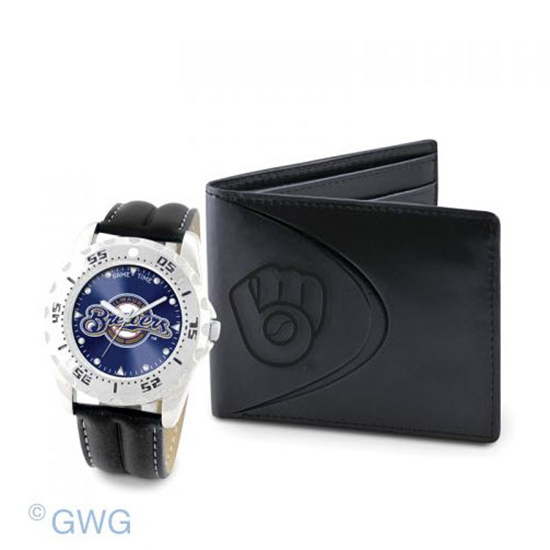 Milwaukee Brewers Game Time Black Leather Watch Bifold Wallet Set MTO