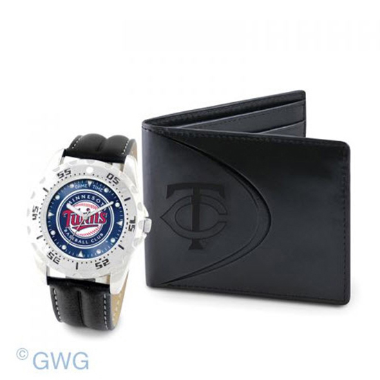 Minnesota Twins Game Time Black Leather Watch Bifold Wallet Set MTO