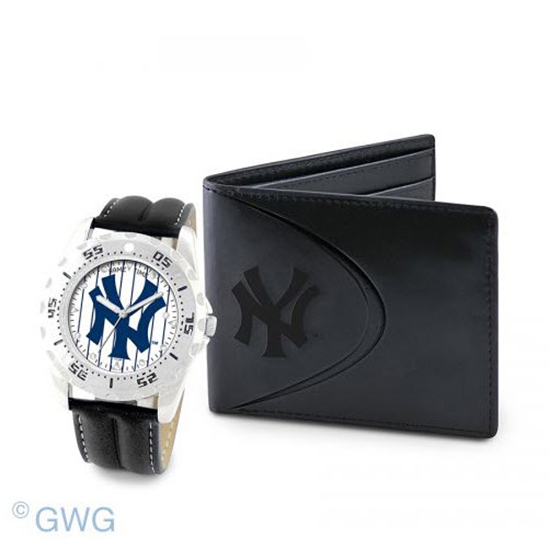 New York Yankees Pinstripe Game Time Black Leather Watch Bifold Wallet Set MTO