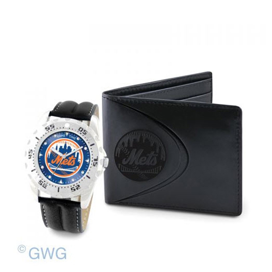 New York Mets Game Time Black Leather Watch Bifold Wallet Set MTO
