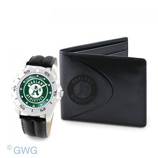 Oakland Athletics Game Time Black Leather Watch Bifold Wallet Set MTO
