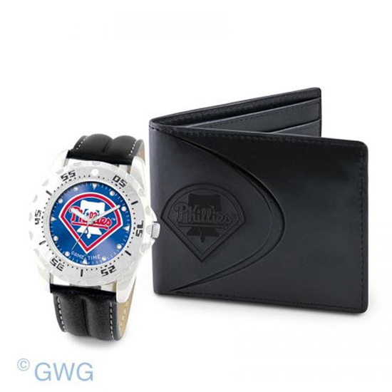 Pittsburgh Pirate Game Time Black Leather Watch Bifold Wallet Set MTO