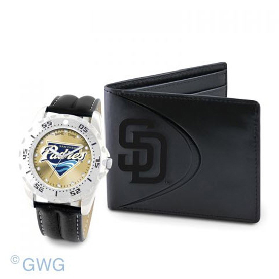 San Diego Padres Logo Game Time Black Leather Watch Bifold Wallet Set