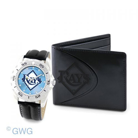 Tampa Bay Rays Game Time Black Leather Watch Bifold Wallet Set MTO