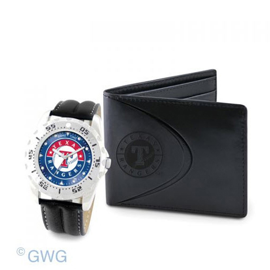Texas Rangers Game Time Black Leather Watch Bifold Wallet Set