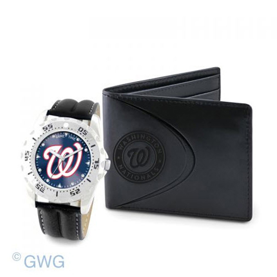 Washington Nationals Game Time Black Leather Watch Bifold Wallet Set MTO