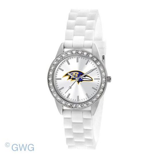 Baltimore Ravens NFL Game Time Frost White Silicone Women's Watch MTO