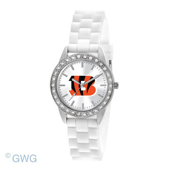 Cincinnati Bengals NFL Game Time Frost White Silicone Women's Watch MTO
