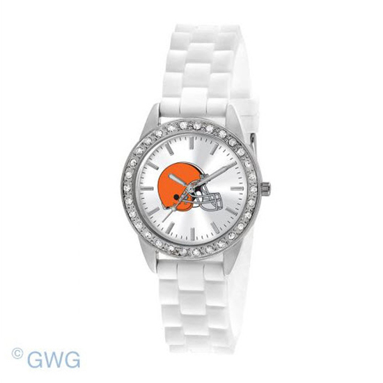 Cleveland Browns NFL Game Time Frost White Silicone Women's Watch MTO