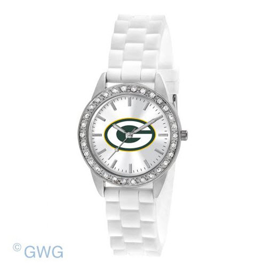 Green Bay Packers NFL Game Time Frost White Silicone Women's Watch MTO