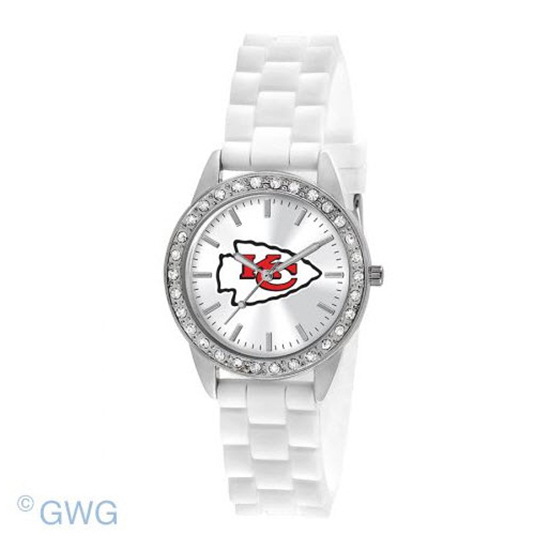 Kansas City Chiefs NFL Game Time Frost White Silicone Women's Watch MTO