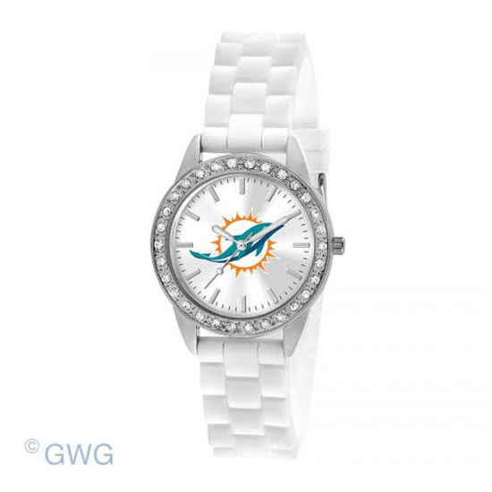 Miami Dolphins NFL Game Time Frost White Silicone Women's Watch MTO