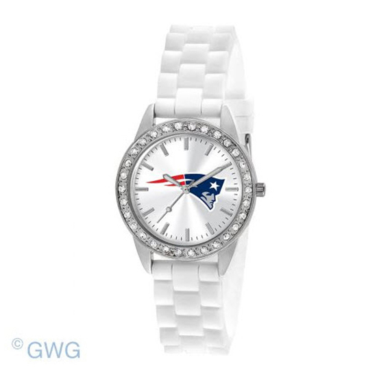 New England Patriots NFL Game Time Frost White Silicone Women's Watch MTO
