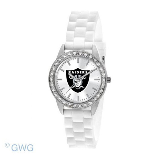 Oakland Raiders NFL Game Time Frost White Silicone Women's Watch MTO