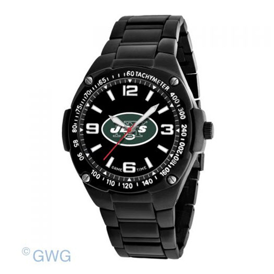New York Jets NFL Gladiator Game Time Black IP Men's Bracelet Watch MTO