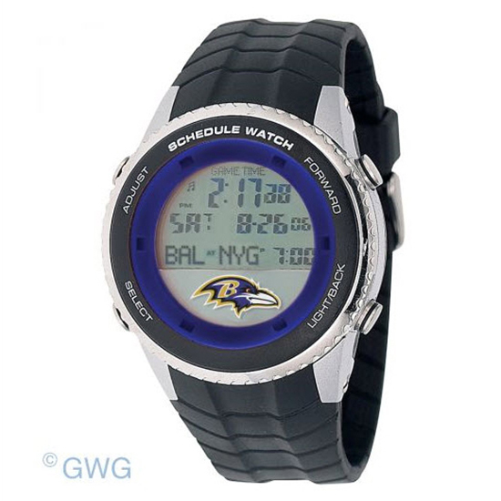 Baltimore Ravens Game Time NFL Schedule Digital Black Men's Watch MTO
