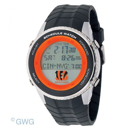 Cincinnati Bengals Game Time NFL Schedule Digital Black Men's Watch MTO