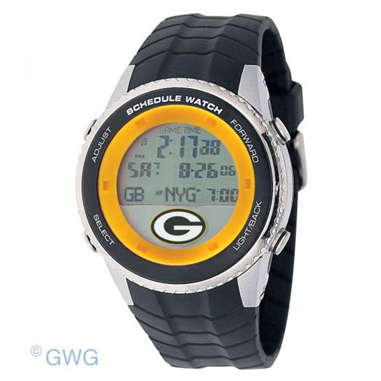 Green Bay Packers Game Time NFL Schedule Digital Black Men's Watch MTO