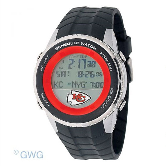 Kansas City Chiefs Game Time NFL Schedule Digital Black Men's Watch MTO
