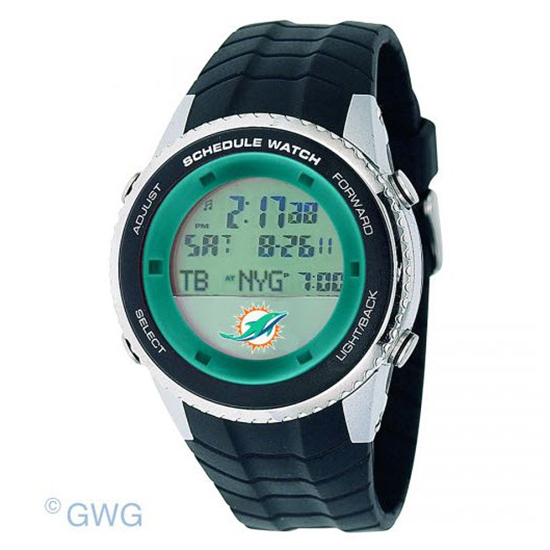 Miami Dolphins Game Time NFL Schedule Digital Black Men's Watch MTO