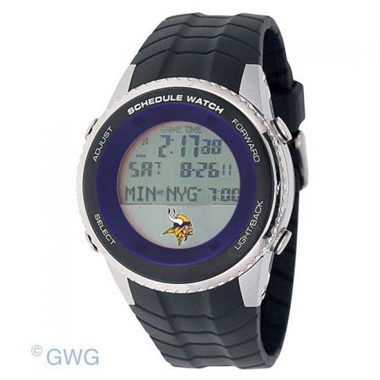 Minnesota Vikings Game Time NFL Schedule Digital Black Men's Watch MTO