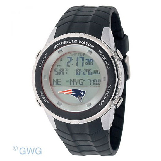 New England Patriots Game Time NFL Schedule Digital Black Men's Watch MTO
